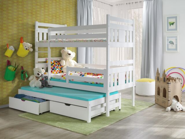 3 Triple Sleeper Bunk Bed White Wooden Solid Frame Mattresses And