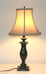 Stiffel Brown Metal Green Accent Square Base Spindle Table Lamp