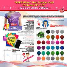 Siser Glitter Heat Transfer Vinyl 12 Sheets 20x12 12 Colors Starter Bundle