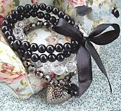 Fashion Women's Multilayer Black Bead Crystal Ribbon Bracelet Bangle Jewelry