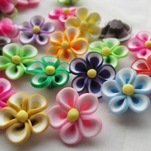 20/100pcs Assorted Fimo Polymer Clay Round Beads Flowers 25mm With Hole