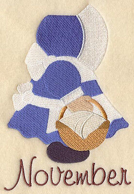 SUNBONNET SUE NOVEMBER -MACHINE EMBROIDERED QUILT BLOCK