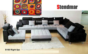 Image Is Loading 5 Piece Modern Two Tone Fabric Sectional Sofa