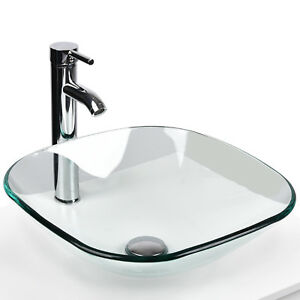 Elecwish Bathroom Tempered Clear Glass Vessel Sink Faucet