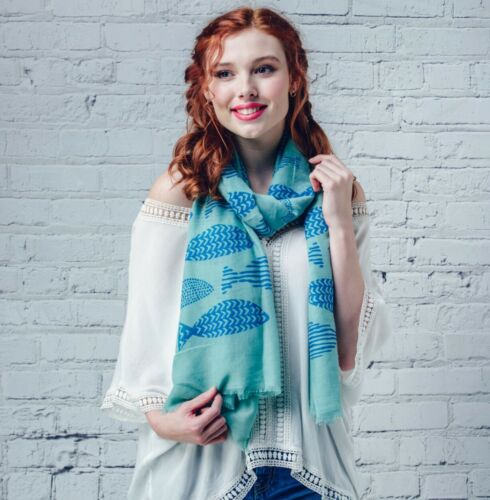 Ladies Scarf Patterned Fishes Green or Grey 180cm x 90cm Christmas Present