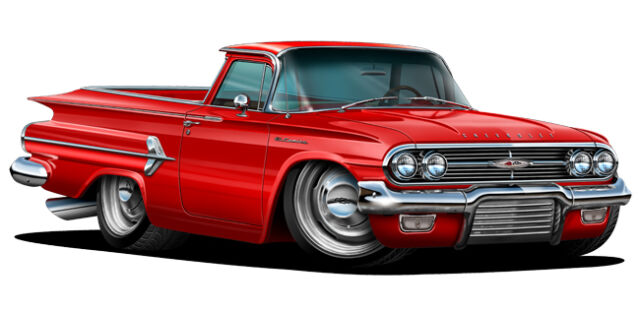1960 Chevy Elcamino Cartoon Car Wall Graphic Decals Man Cave Garage Bar Decor
