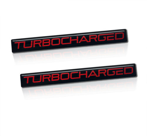Brand New TURBOCHARGED Turbo Charged Badges Sticker Emblem Black Red 2