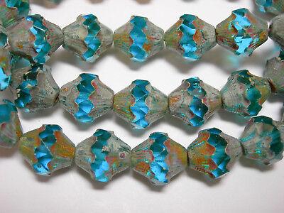 15 8mm Capri Blue with Bronze Firepolished Thru Cuts Czech Glass Beads