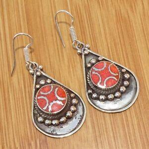 925 Tibetan Silver Red Coral Nepali Handmade Earrings Ethnic Jewellery TIJ1