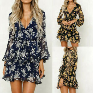 Boho-Womens-Floral-Leaf-Wrap-Mini-Dress-Ladies-Beach-Summer-V-Neck-Sundress-UK