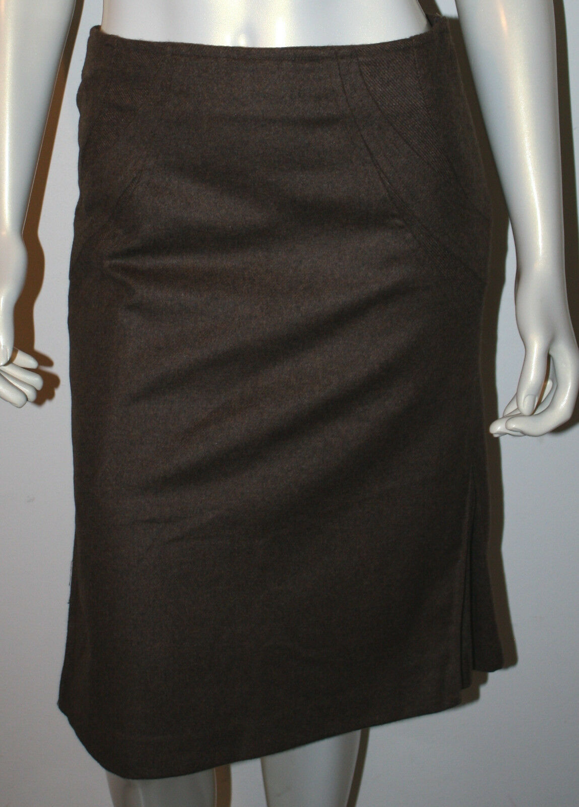 GINA MANTELLI  Brown Lambswool Angora Pleated Circle Skirt 8 COUTURE Pencil