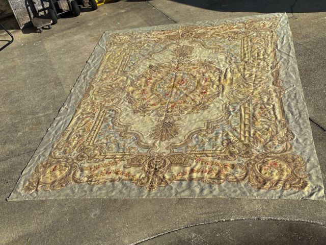 Vintage Hand Woven Aubusson Flat Weave Rug Wall Hanging or Bed Cover (MRD)