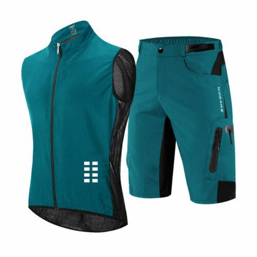 WOSAWE Men/'s Short Sleeve MTB Bike Cycling Jersey Shorts Set loose Bicycle Pants