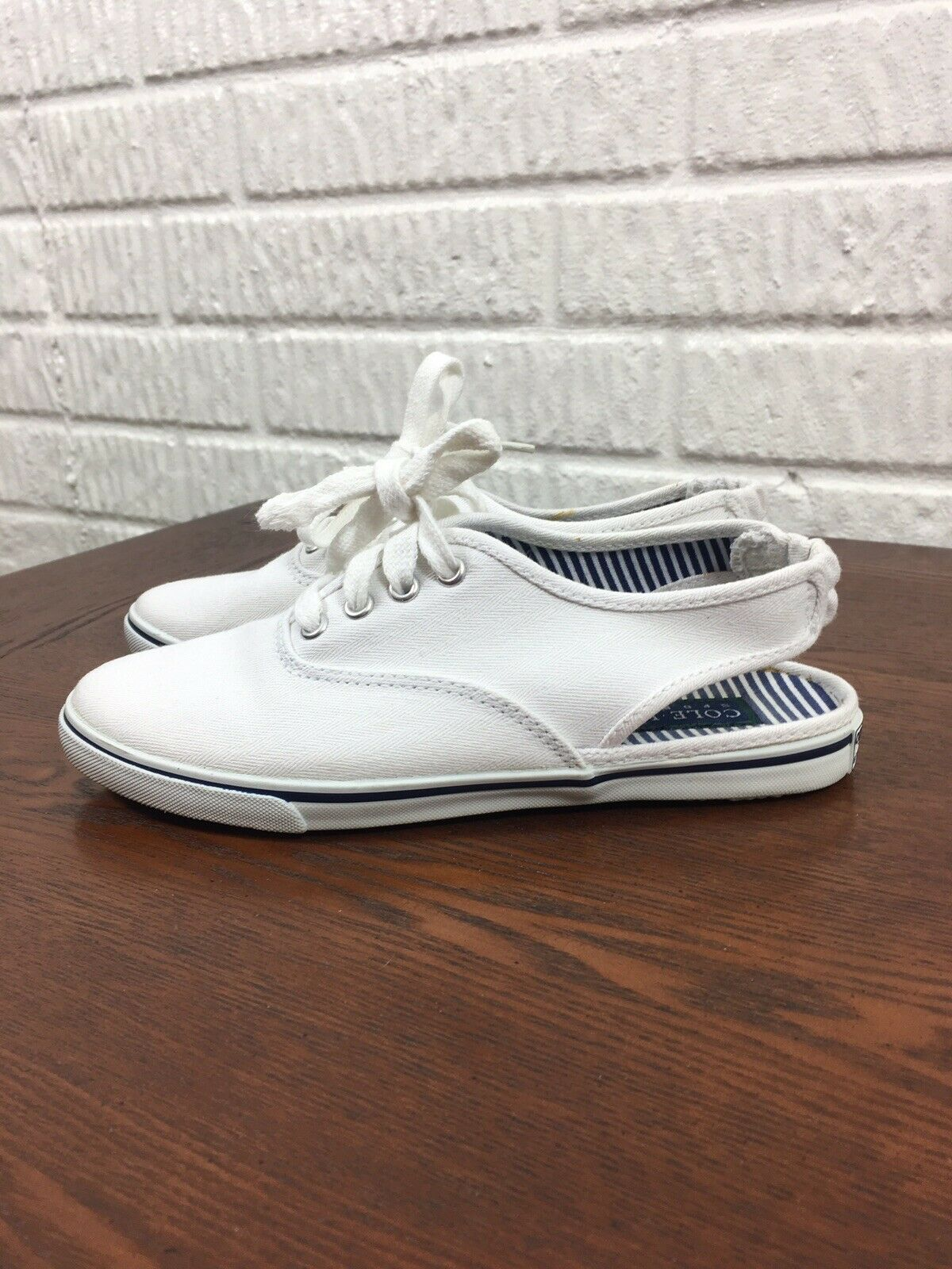 COLE HAAN Sporting Size 5M Women's White Canvas Slingback Vintage 90s
