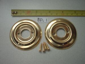BACK PLATE FOR RIM LOCK FIT ETC A 60 mm DIAMETER  PRESSED BRASS DOOR KNOB ROSE