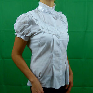 White-Formal-Cotton-Victorian-Steampunk-Short-Sleeve-Shirt-Top-8-10-12-14-16