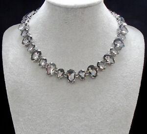Strass-grau-Tropfen-Glamour-Design-Kette-Halskette-Collier-Silber-plattiert-neu
