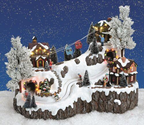 XL Beleuchtete Weihnachtsszene Winterszene Seilbahn Musik Licht Kinder Gondeln