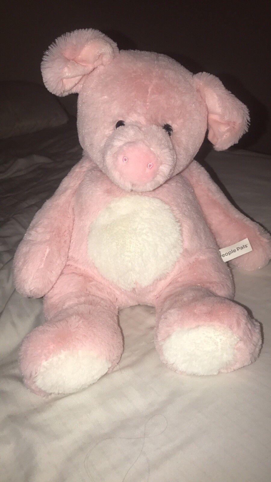 People Pals Pink White Pig Piggy Plush Stuffed Animal 16  Toy Safeway Floppy