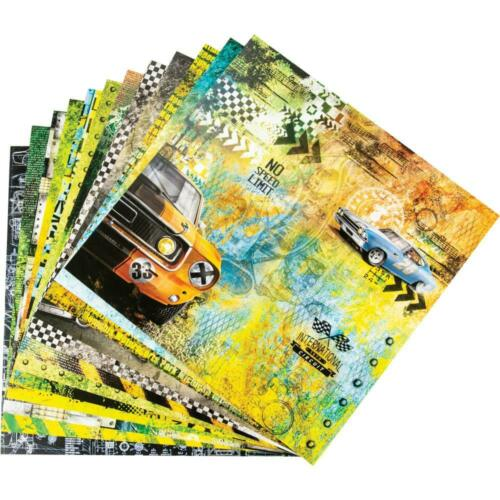 """Ciao Bella /'START YOUR ENGINES/' 12x12/"""" Paper Pad 12 Sheets Men/'s Scrapbooking"""
