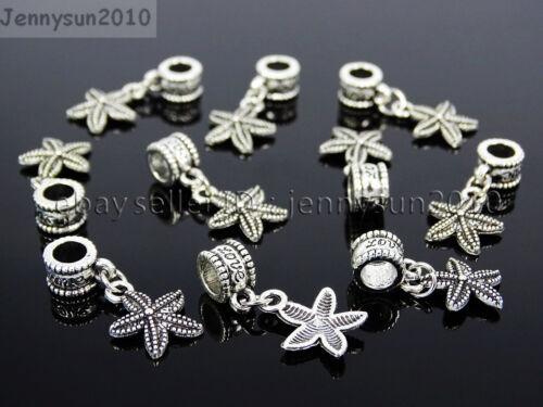Tibetan Silver Big Hole Connector Metal Spacer European Charm Beads Findings #3