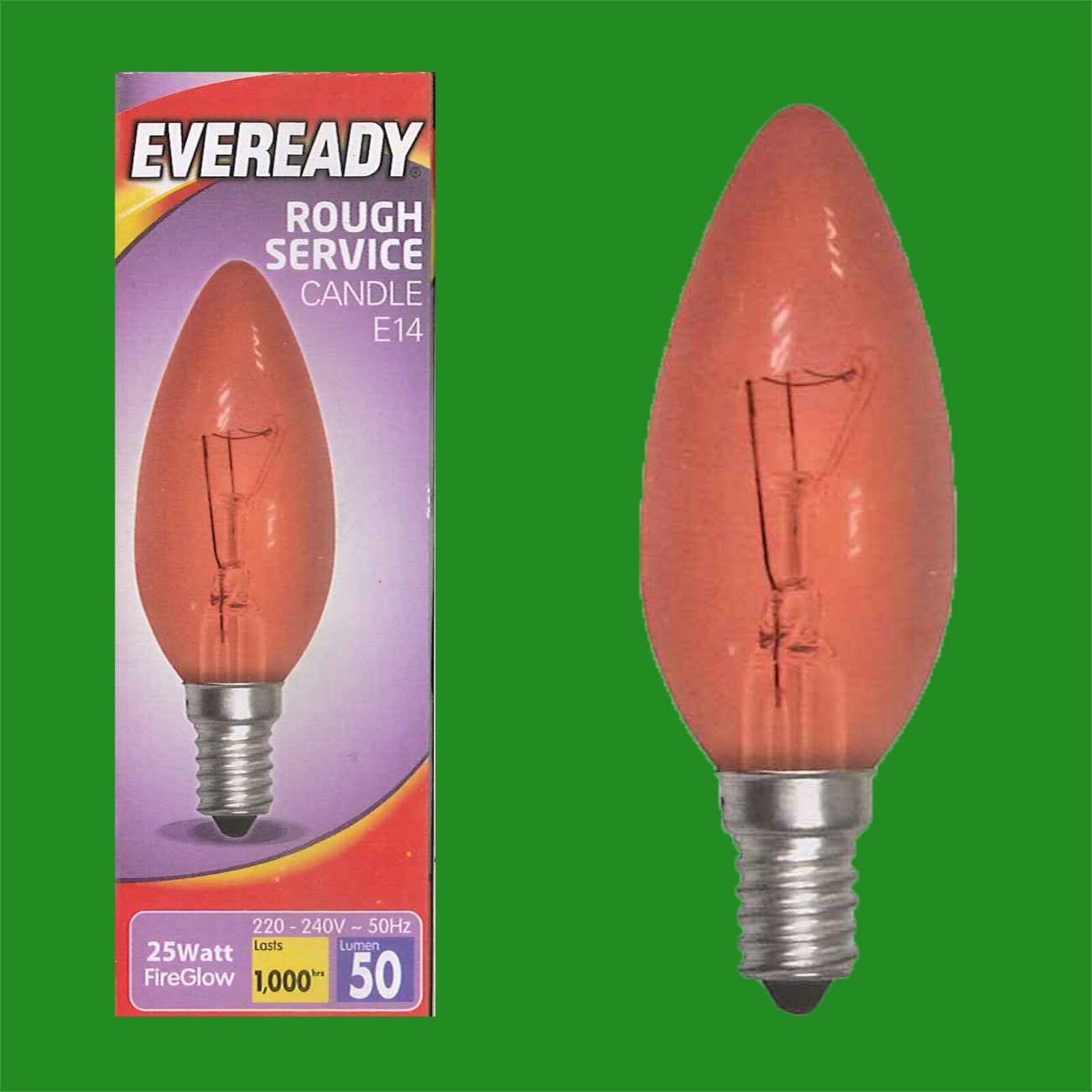 Brooders etc. Electric Fires 10x 25W Red Fireglow SES E14 Candle Light Bulb