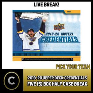 2019-20-UPPER-DECK-CREDENTIALS-5-BOX-HALF-CASE-BREAK-H753-PICK-YOUR-TEAM