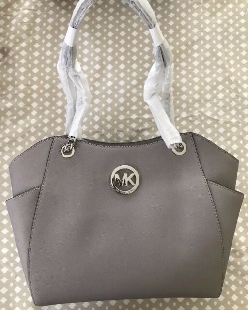 f1607be583652f ... italy nwt michael kors jet set travel large shoulder chain tote silver  pearl grey gray b586f
