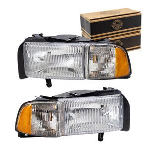 New Pair Set Headlights w/ Corner Lamps for 1994-2002 Dodge Ram Pickup Truck