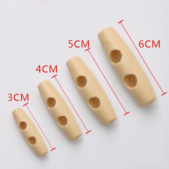 10 new natural wood toggle buttons 35mm long 2 holes