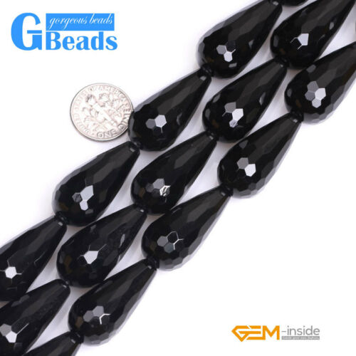 """Natural Black Agate Gemstone Onyx Teardrop Faceted Beads For Jewelry Making 15/"""""""