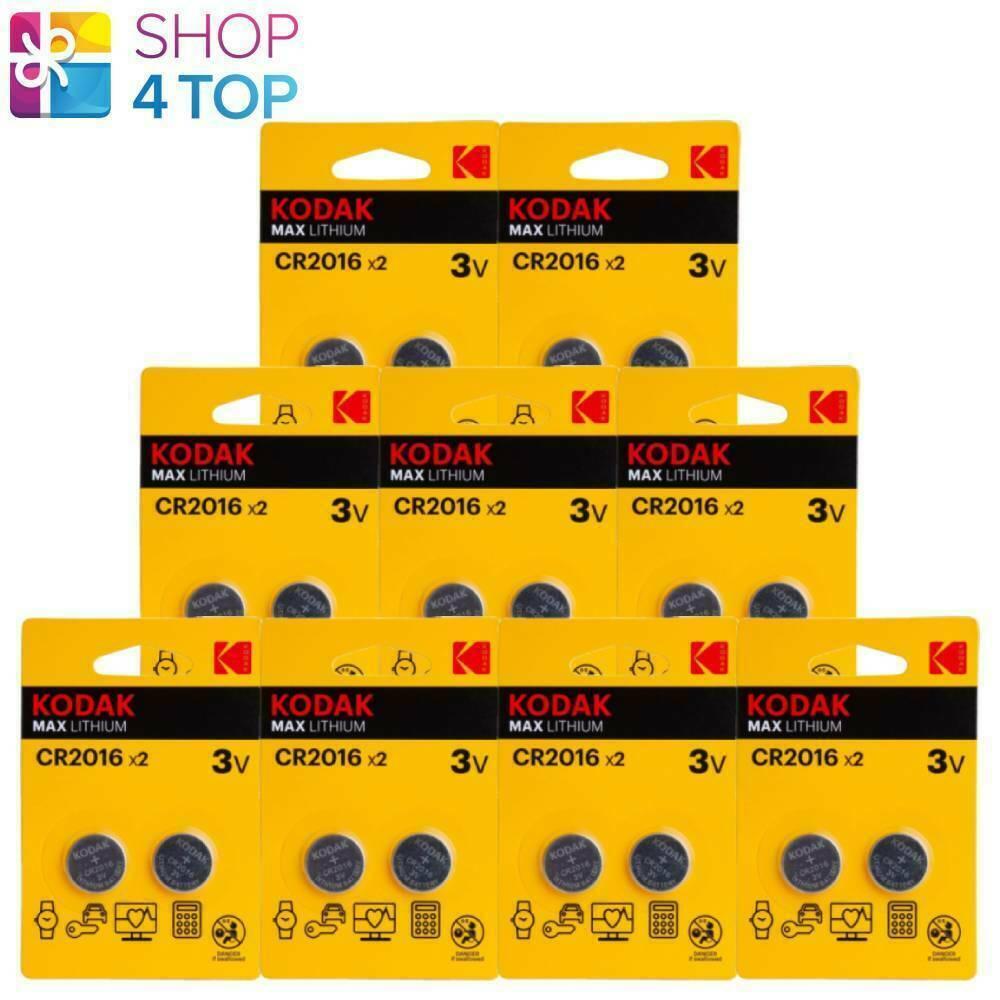 18 kodak max lithium batteries cr2016 blister pack 3v coin cell button 2bl neu