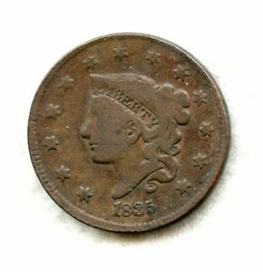 1835 ~ CORONET HEAD ~ LARGE CENT ~ VG