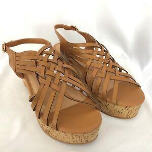 28f40a823ac2d Pierre Dumas Ruth Brown Strappy Sandals Shoes Cork Wedge Platform SZ ...