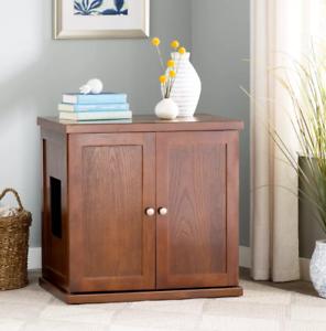 Image Is Loading Cat Litter Box Wooden Cabinet Enclosure Hidden Toilet