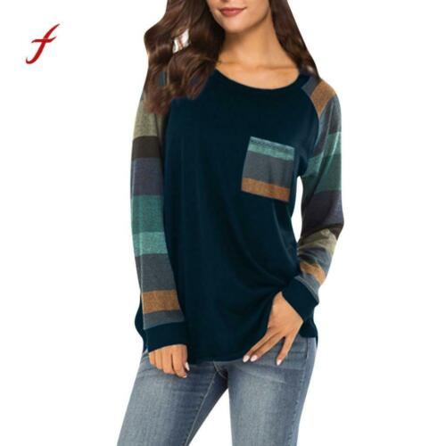 Fashion Patchwork Casual Top Loose Long Sleeve Plus Size Women/'s