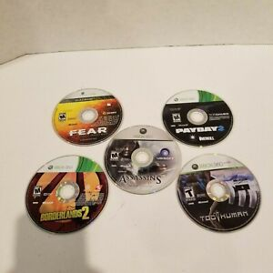 Lot of 5 Xbox 360 Games - Borderlands 2 FEAR Assassins Creed Too Human Payday 2