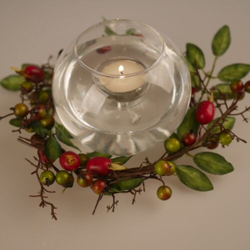 Rose Hip Winter Christmas Candle Ring Wreaths Home Decor Room Door Decoration