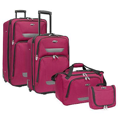 US Traveler Westport 4pc Plum Expandable Rolling Luggage Suitcase Duffel Bag Set