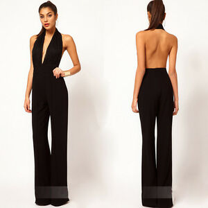 sexy women elegant lace halter deep v neck open back backless jumpsuit romper ebay. Black Bedroom Furniture Sets. Home Design Ideas