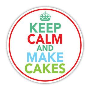 KEEP CALM & MAKE CAKES  car sticker split van vintage retro 85mm