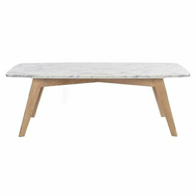 Peachy Faura 18 X 43 5 Rectangular White Marble Coffee Table With Oak Legs Ebay Squirreltailoven Fun Painted Chair Ideas Images Squirreltailovenorg