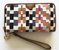 Fossil Sydney Coral Multi Zip Phone Woven Leather Wallet Sl6999934