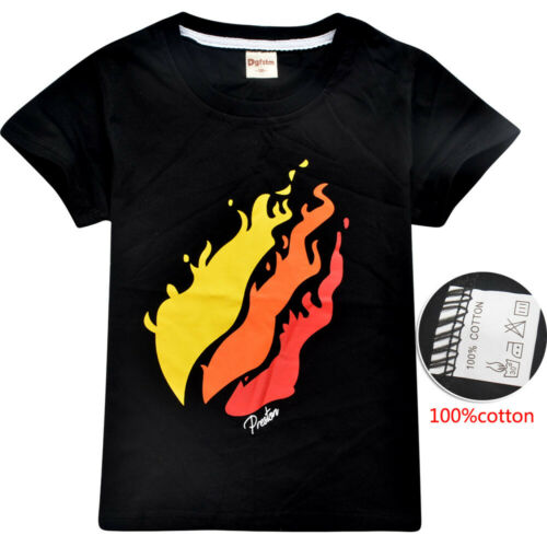 PrestonPlayz Shirt Fire Logo Inspired Shirt Preston Playz Merch For 6-13 YS kids