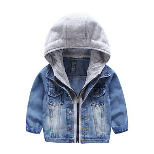 Toddler Baby Boys Outerwear Hooded coats Denim Jacket Kids Boys Clothes Tops