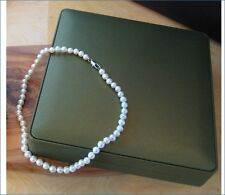 Pure white real freshwater pearl 18 inch necklace with silver clasp gift boxed