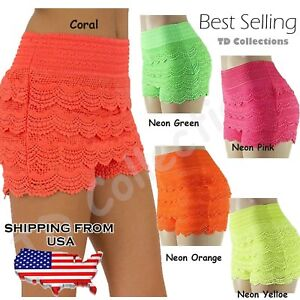 New-Fashion-Sexy-Women-Korean-Sweet-Crochet-Tiered-Lace-Skorts-ShortsShort-Pants