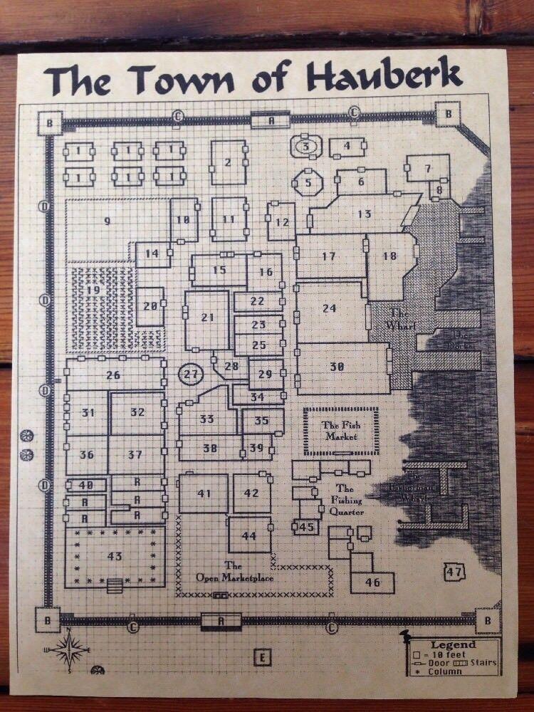 Vintage 90s Fan Map City RPG Fantasy Hauberk of Town D&D
