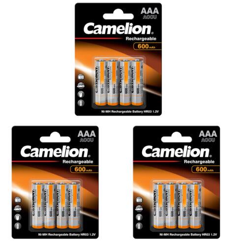3 x 4er 12 x Camelion 600mAh NiMh Akku Accu AAA Micro HR03 1,2V DECT Telefon