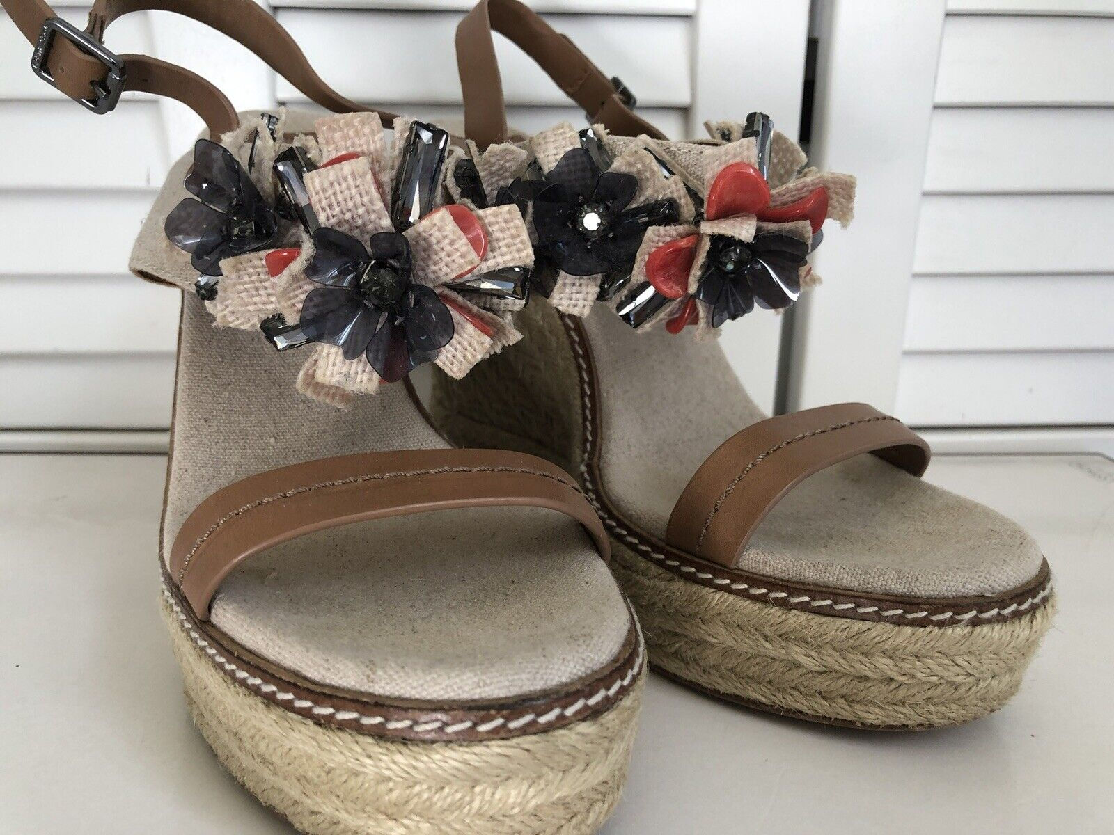 TORY BURCH MALLORY ESPADRILLE WEDGE SANDAL SHOE CRYSTALS WOMENS Sz 9M  275 NEW